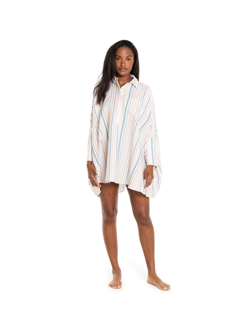 no. 1044 embroidered striped oversized shirt