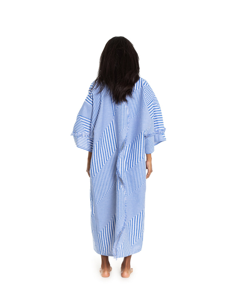 no. 4040 blue & white stripe duster