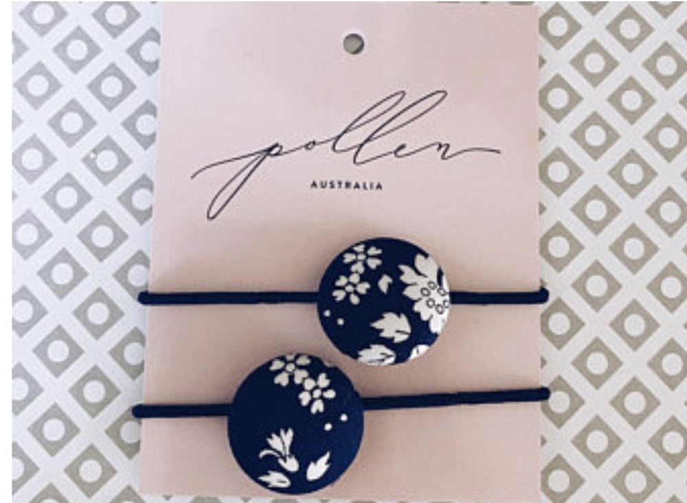 Button Hair ties- Capel Navy