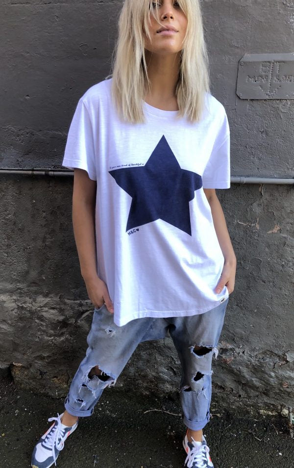 Vintage Tee White/Navy Star