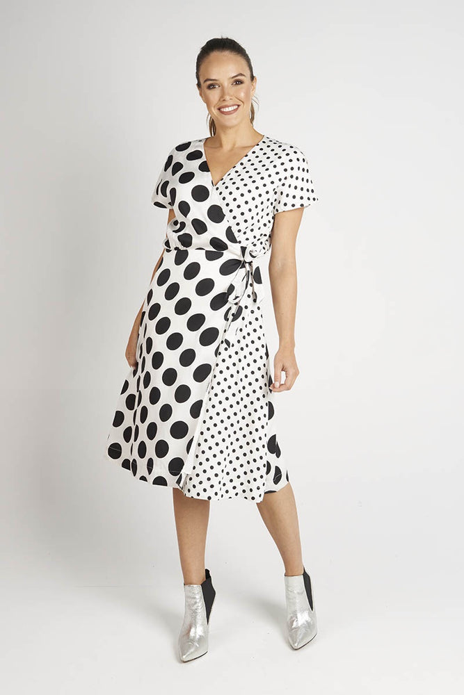 Multi Black Spot Wrap Dress