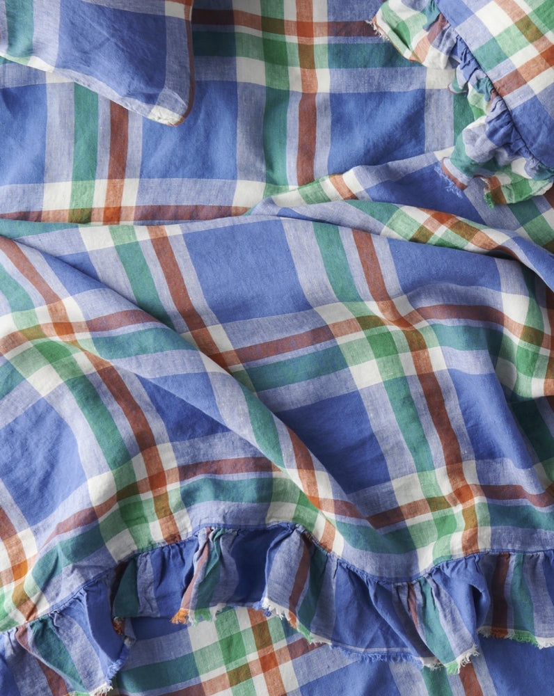 Cornflower check fitted sheet