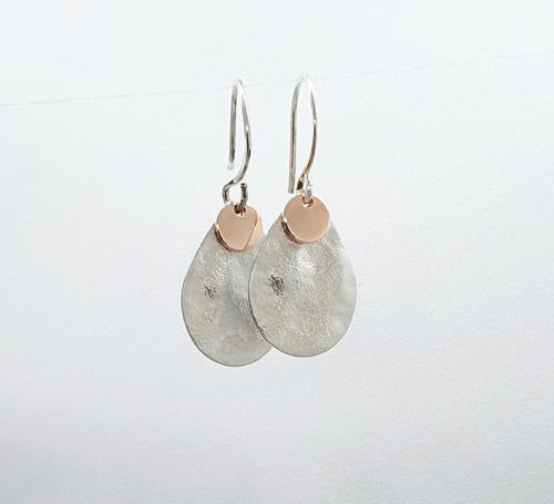 Rose Gold  & Silver Textured Dangles