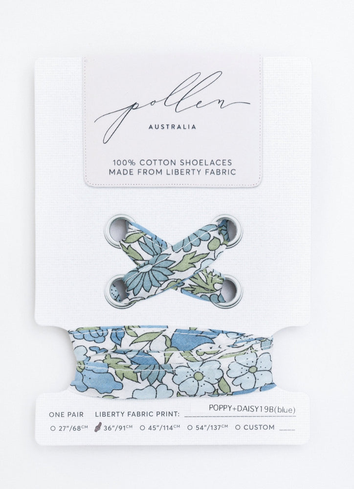 Shoelaces- Liberty Poppy and Daisy Blue Large