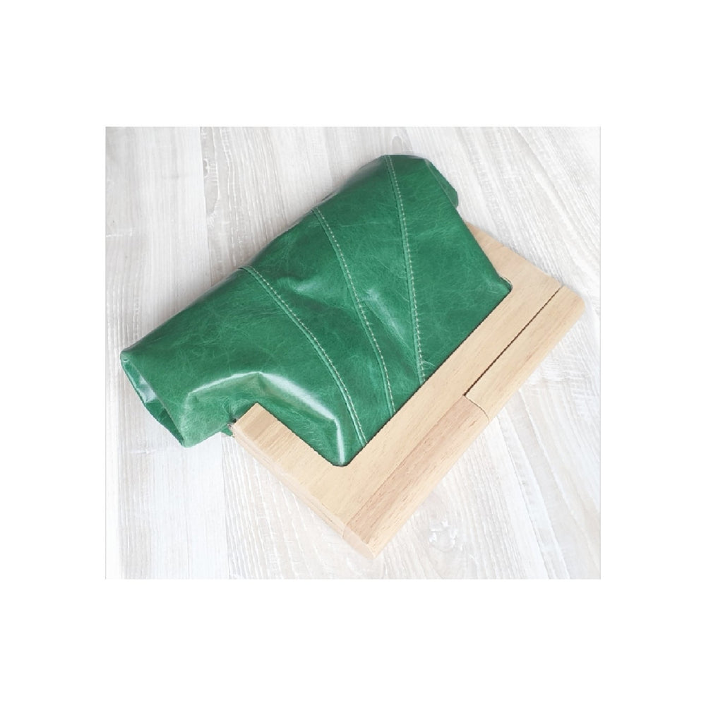 Timber & Leather Emerald Clutch