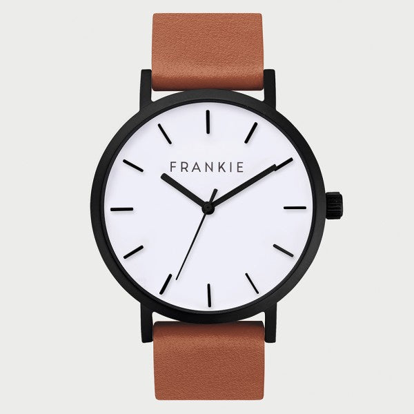 Matte black rim/brown band frankie