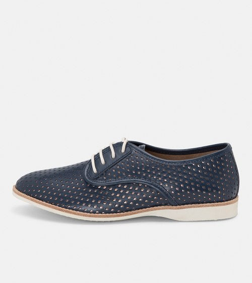 Navy Derby Punch Shoes