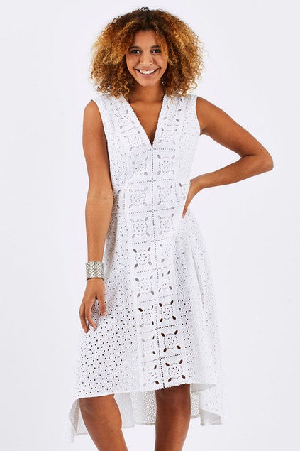 Broderie Anglaise Draped Dress
