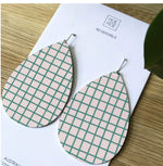 Pink and Green Grid Big Tear Drop