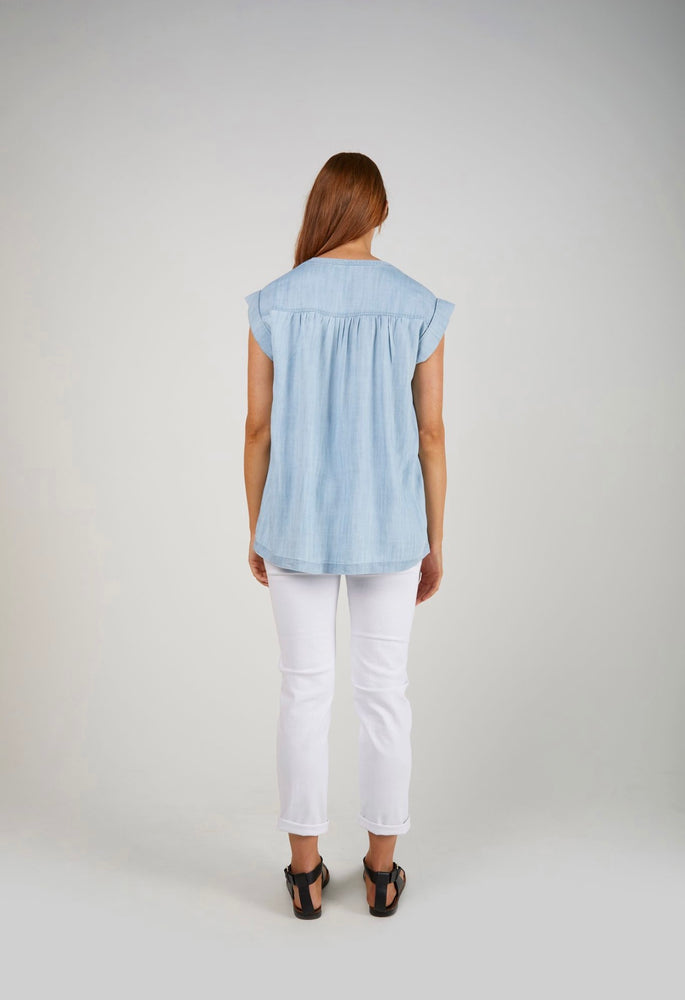 Rolled Cuff Tank Chambray