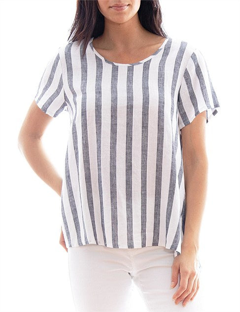 Khaki Stripe Linen Top