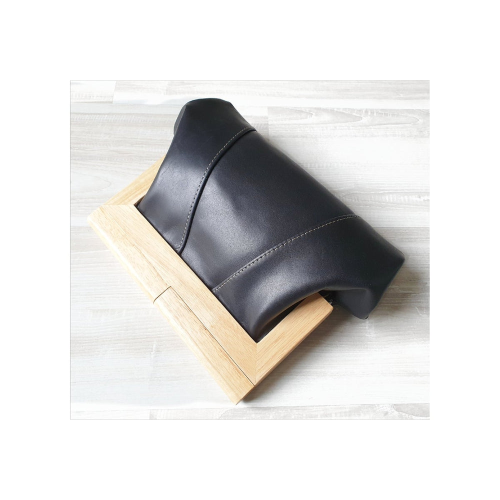 Timber & Leather Black Clutch