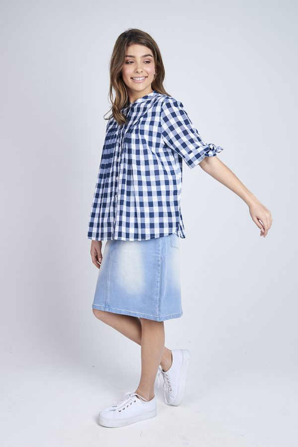 Tie Sleeve Top Gingham
