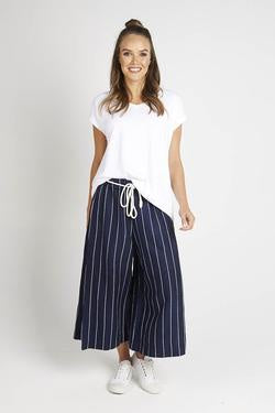 Split Side Navy/White Culotte