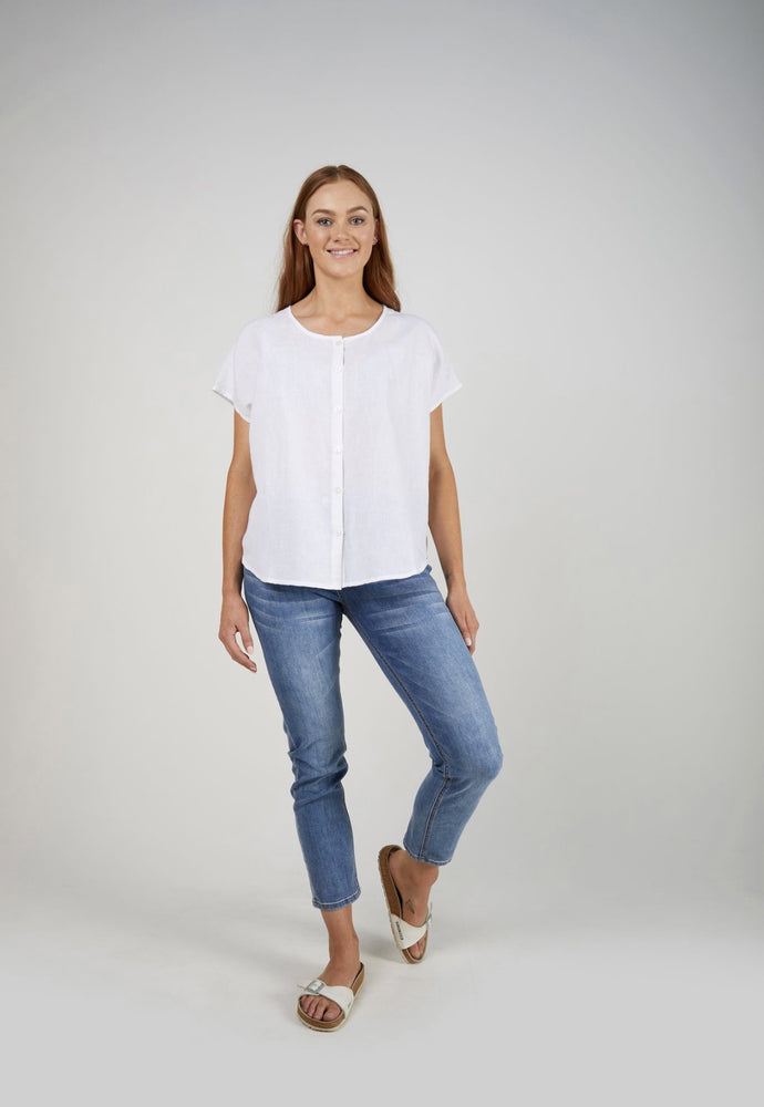 Button Thru Shell Top -White