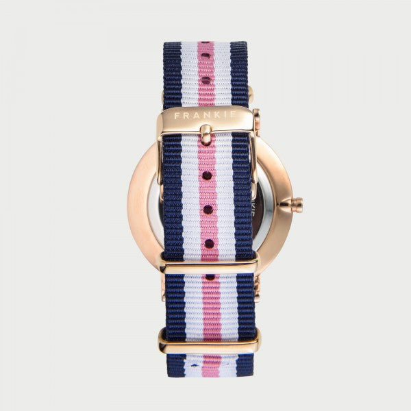 Iconic rose gold rim/ blue and pink band Frankie