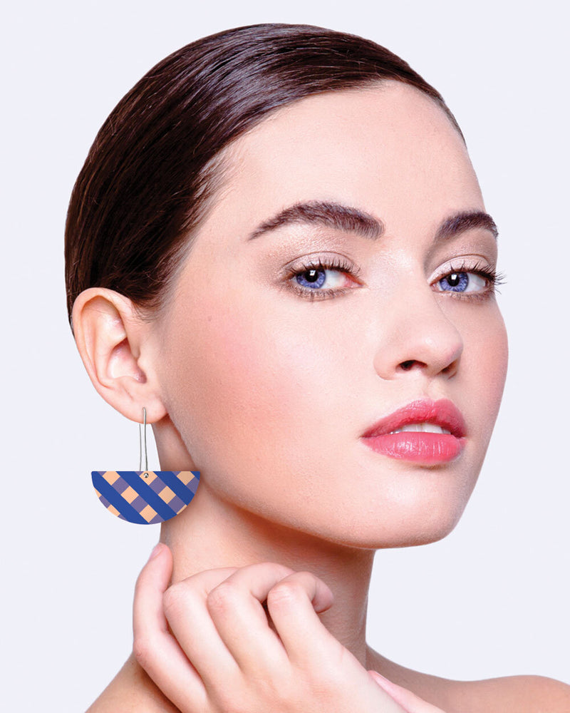 Indigo Striped Gingham Big Moon Long Drop Earring
