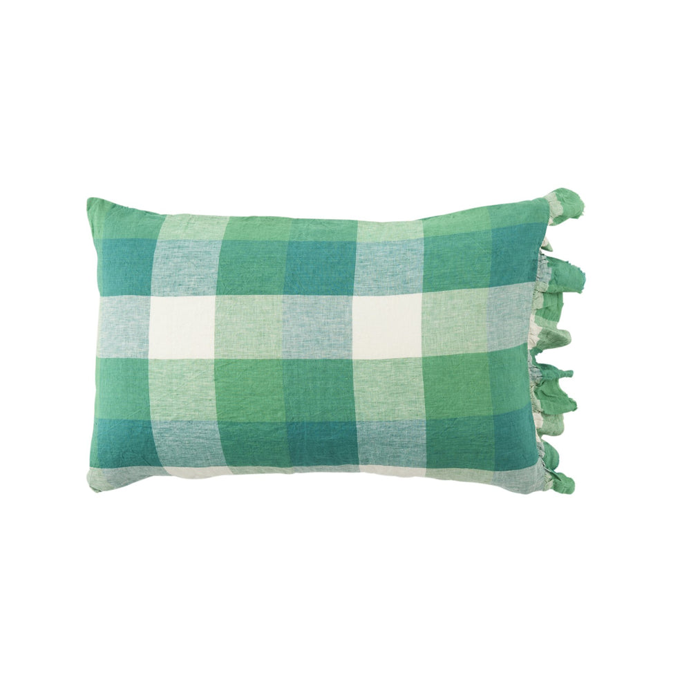 Apple check ruffle pillowcase