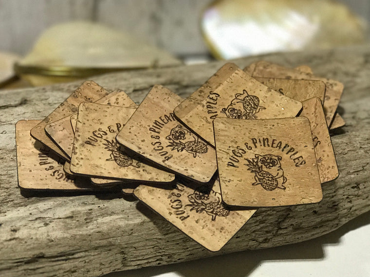 Cork Tags for apparel, handmade bags, purses and other handmade goods