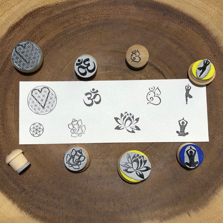 Consciousness  Series Rubber Stamp Set - Heart flower of life, Om, Seed of life, Ganesh, lotus, yoga poses