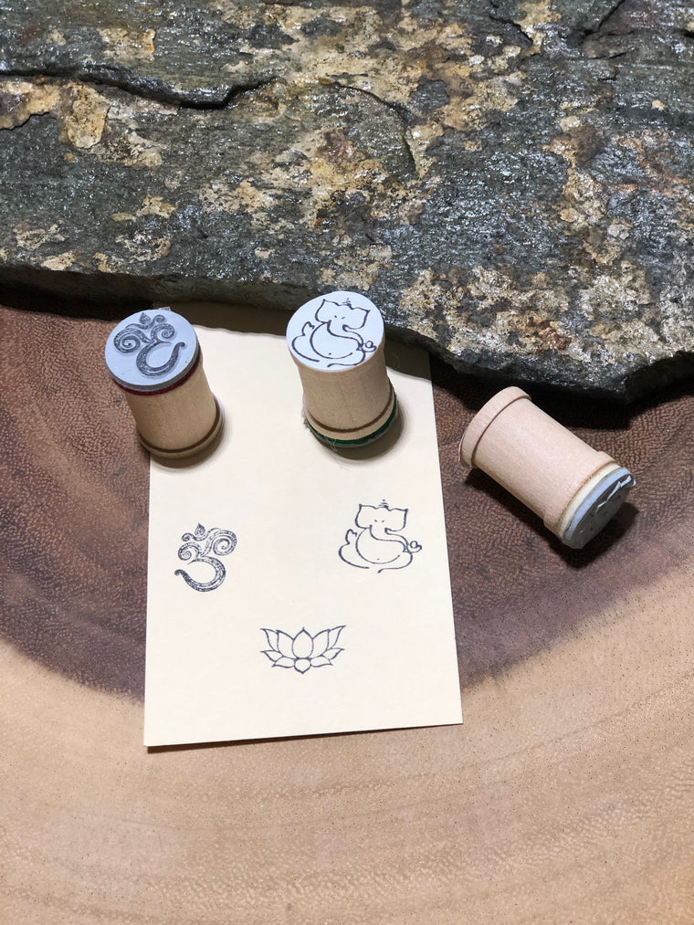 Mandala Series- Om, Lotus, Ganesh set of 3 yoga stamps