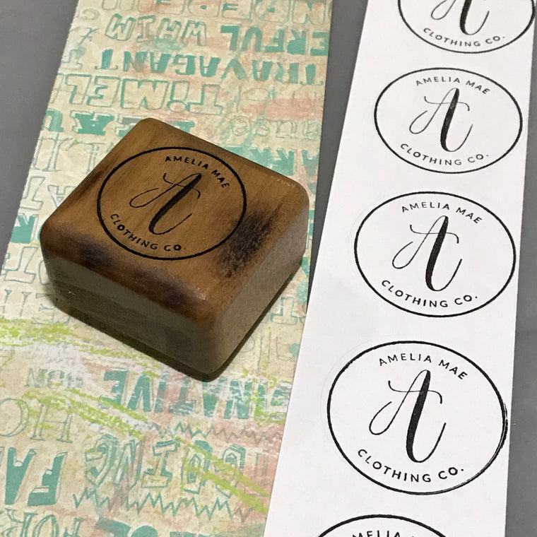 "1.5"" Custom Stamp with labels for packaging and shipping"