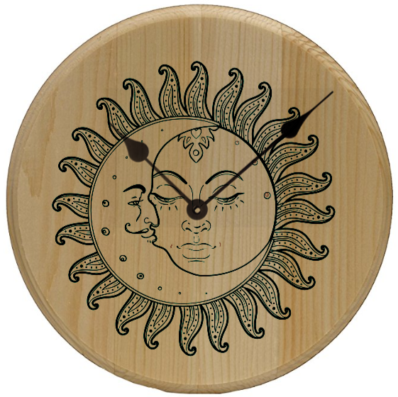 Sun and Moon Minimalist Home Decor Wall Art Clock