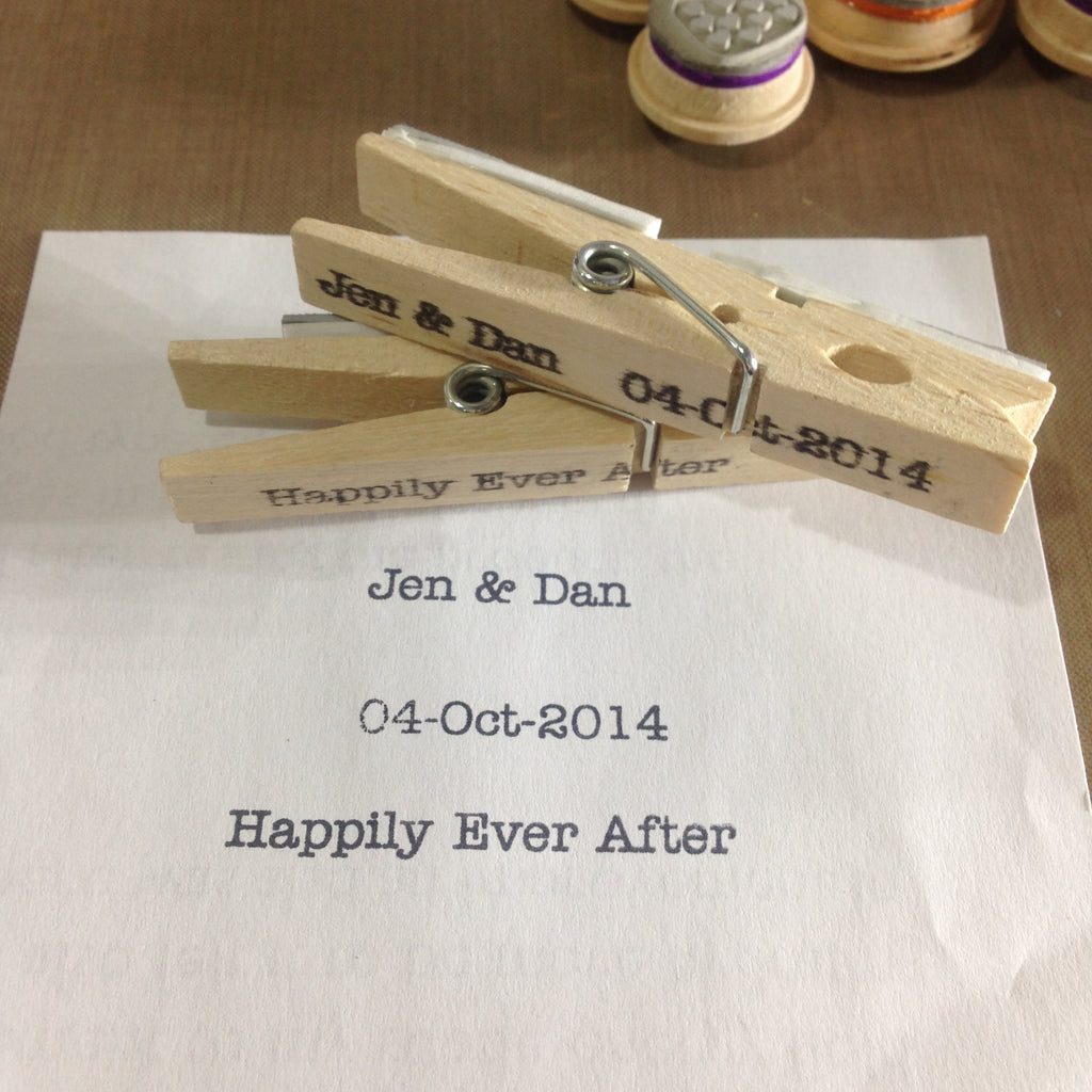 Catch phrase, wedding dates, monograms and social media handle clothespin mounted rubber stamp - Free Shipping (coupon code ETAfreeshipping)