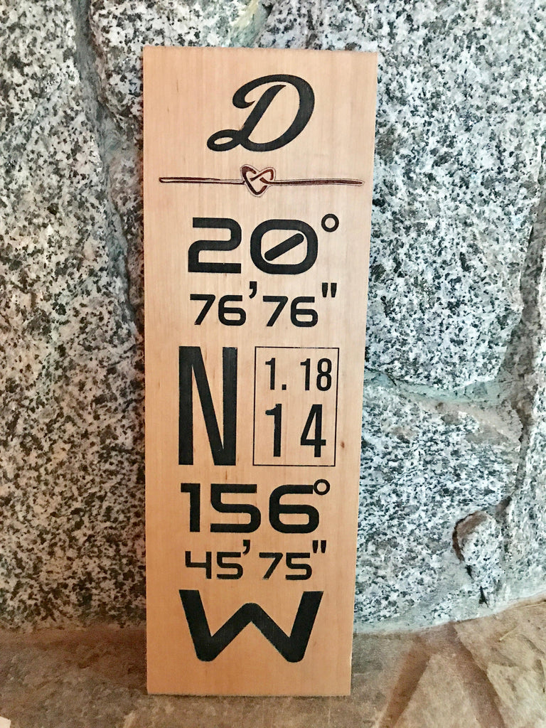GPS coordinates Wedding Date Address Sign. Longitude and Latitude for wedding, anniversary, gifting