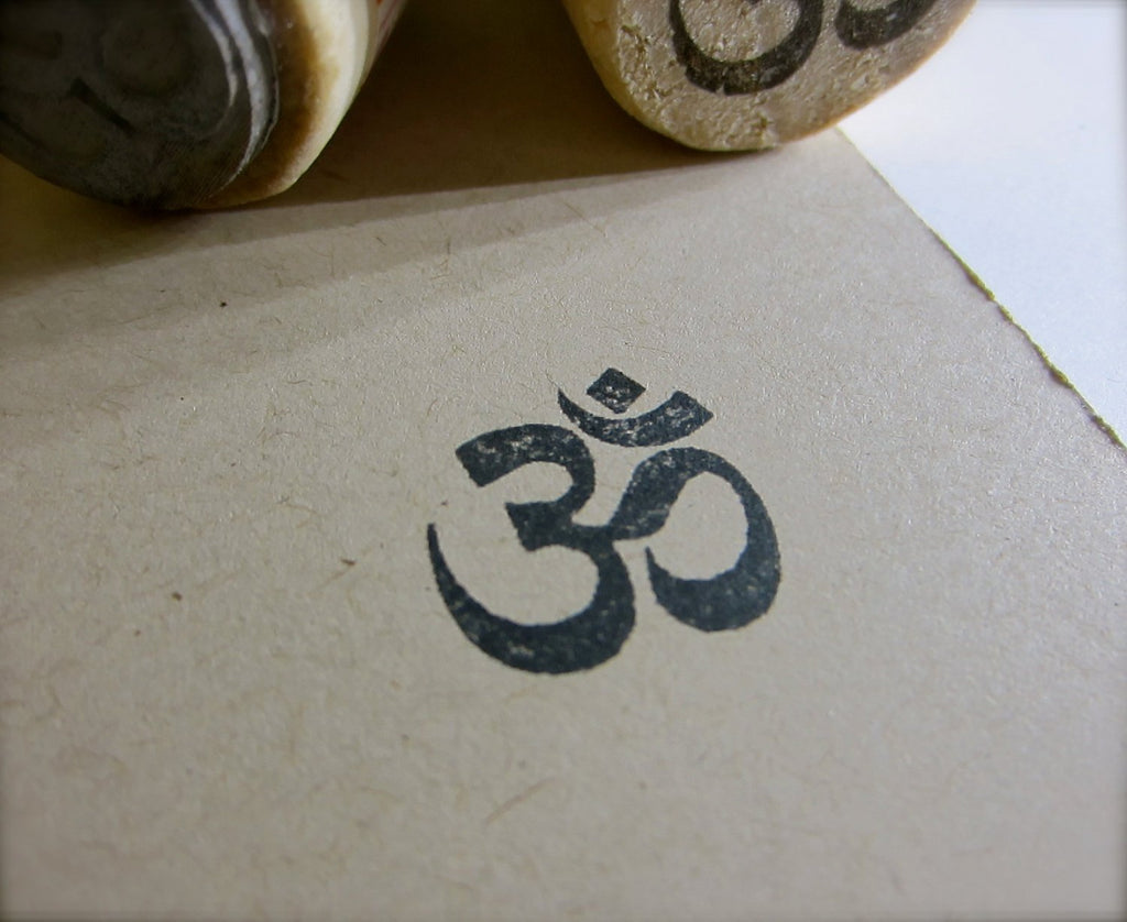 Om Rubber Stamp - Aum - Sound of the Universe - New long handle for 3/4 inch size - MIX YY011
