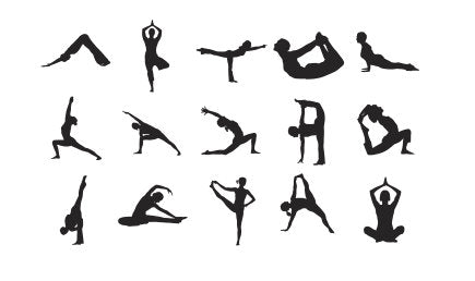 "Yoga Silhouettes Stamps Set of 15 rubber stamps -  fitted into 3/4"" mount SM"
