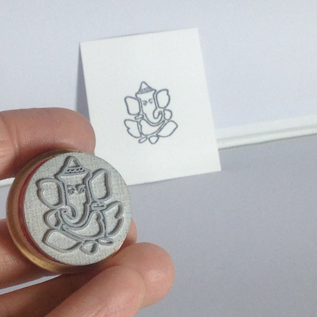 Ganesh 1 inch diameter Stamp for paper, clay, ceramics and jewelry stamping MED