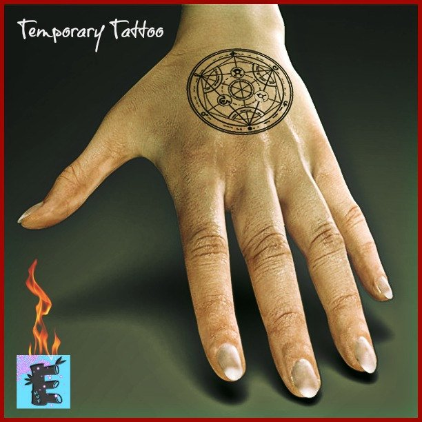 FMA Transmutation Circle Temporary Tattoo Human Transmutation Circle Full Metal Alchemist Cosplay