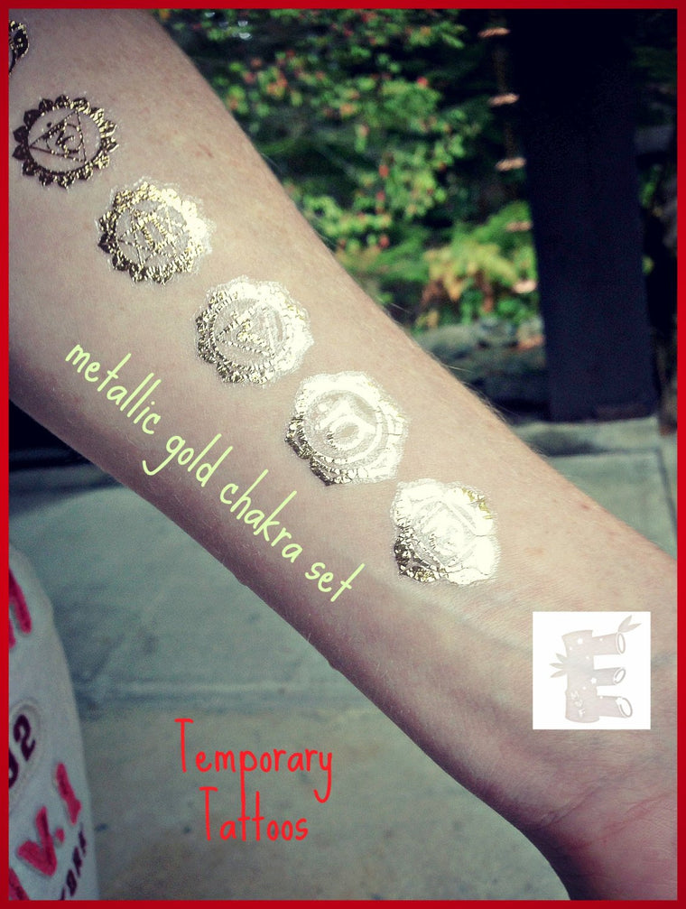 Chakra Temporary Tattoos - Metallic gold tattoos - spiritual tattoos - Reiki 5 sets - FREE SHIPPING