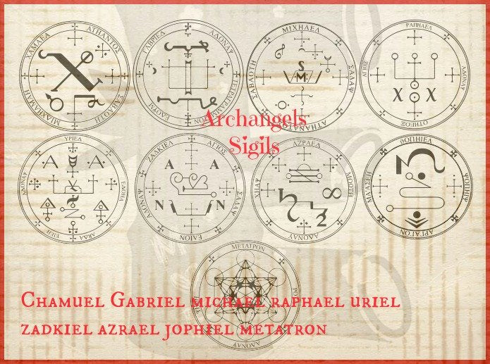 Archangel - 9 sigials or symbols Rubber Stamp  Set of 9 angels - free shipping