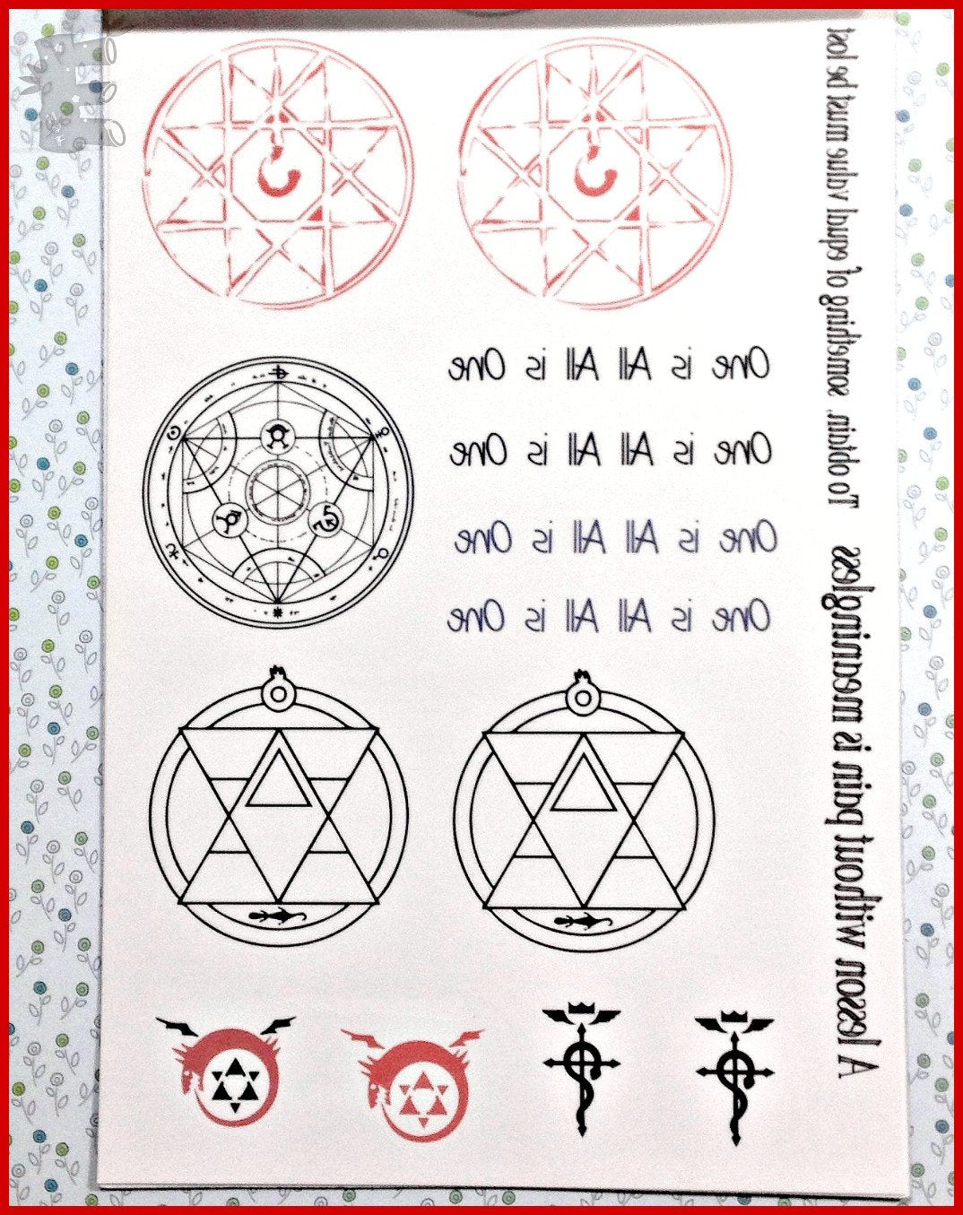 Fma Roy Mustangs Flame Temporary Tattoo With Bonus Alchemy Symbols