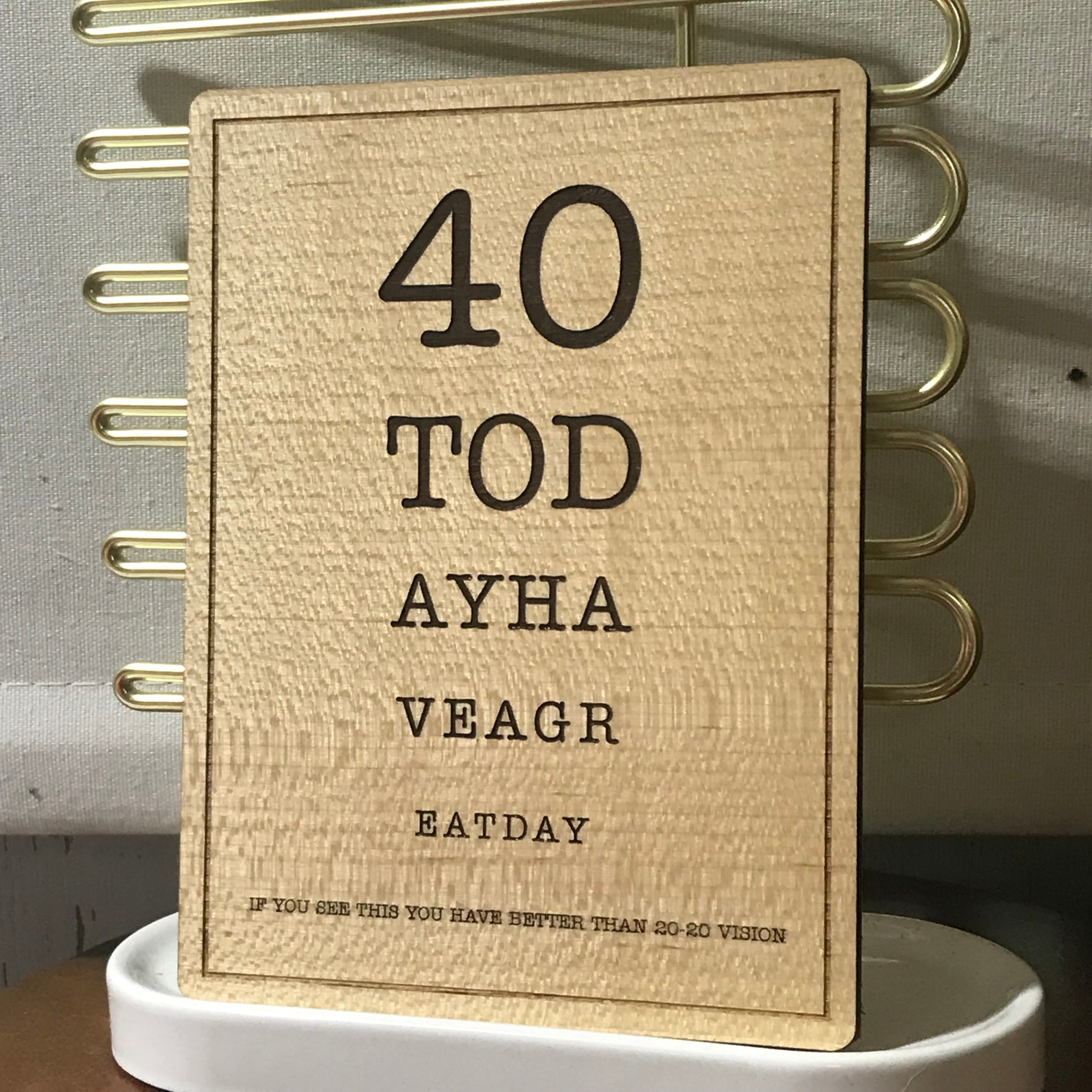 40th Birthday Wooden Postcard Size Greeting Card Etchythings And