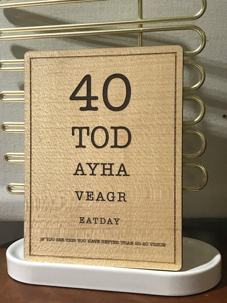 40th birthday wooden postcard size greeting card