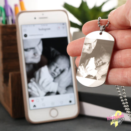 Photo Etched Dog Tag with Ball Chain (Stainless) / No