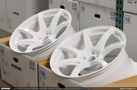 WORK Emotion T7R 19x9.5/10.5 5x114.3 White Finish Nissan 370Z Fitments