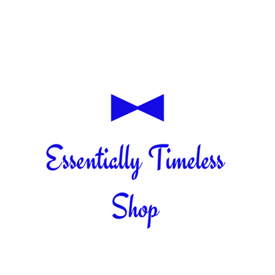 Logo for essentially timeless shop has a blue bow tie