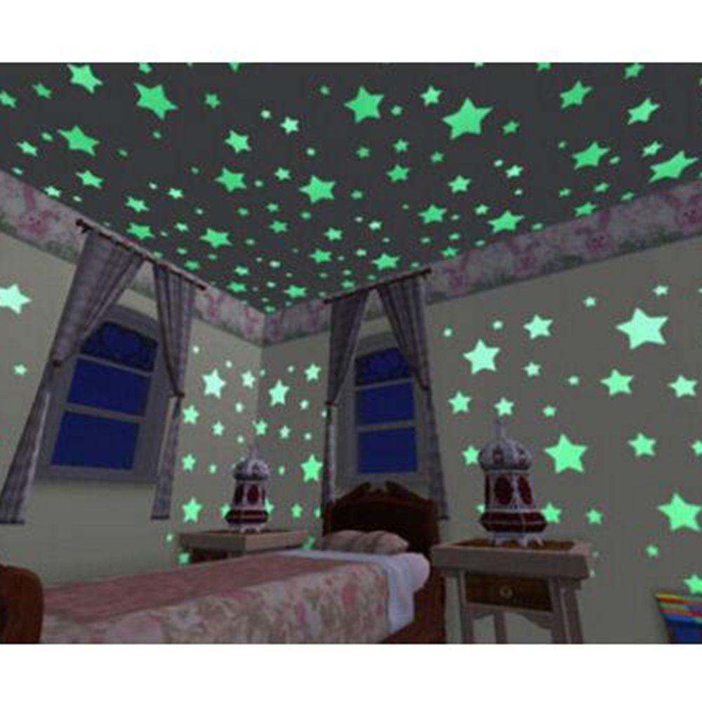 100pcs Mix Glow In The Dark Fluorescent Wall Stickers