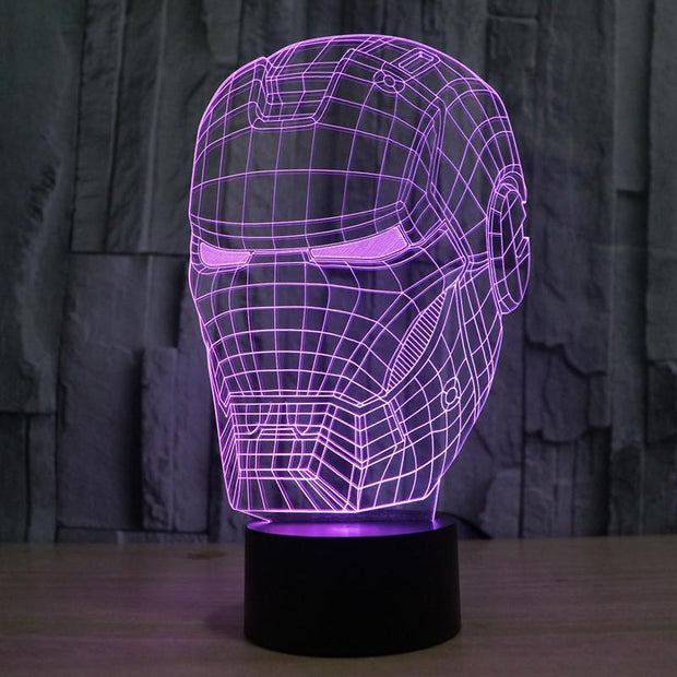 Changeable Marvel Inspired Iron Man Head Bust 3D Optical Illusion Lamp