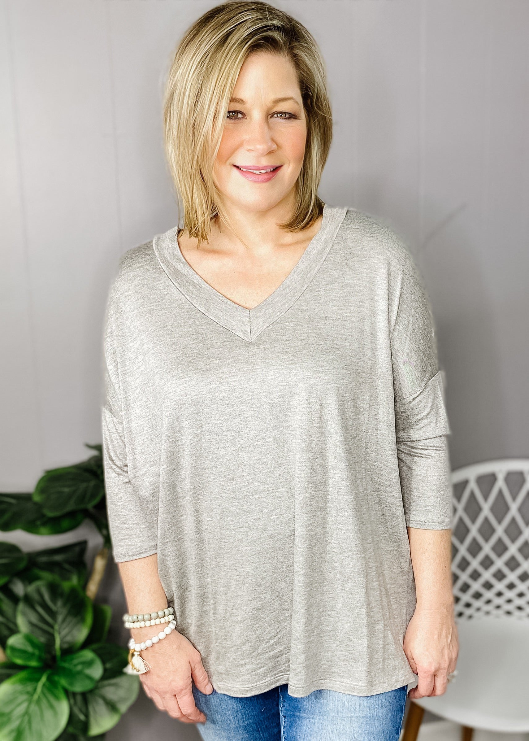 Gray Double V Neck