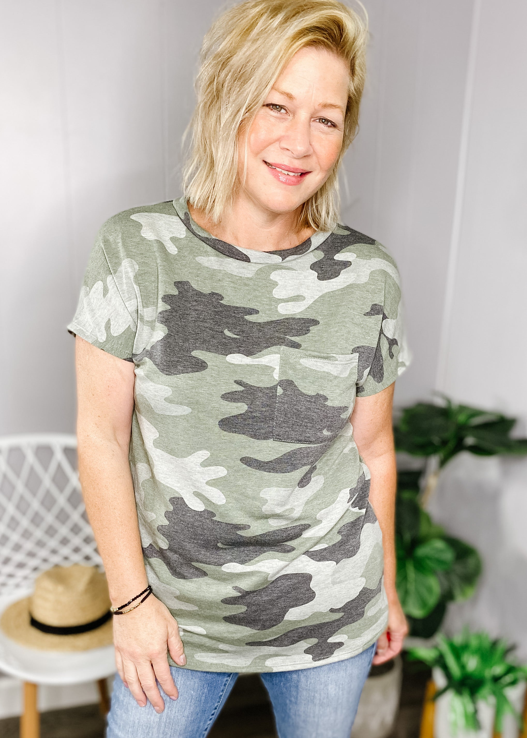 French Terry Camouflage Top