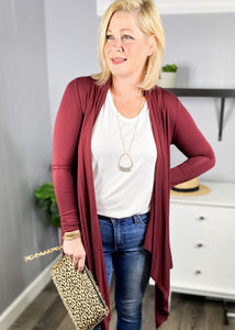 Wine cascading fall cardigan. Available at L.E & CO Boutique a clothing boutique for women.