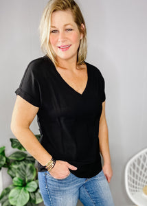 Classic black v neck with short sleeves available at L.E & CO Boutique