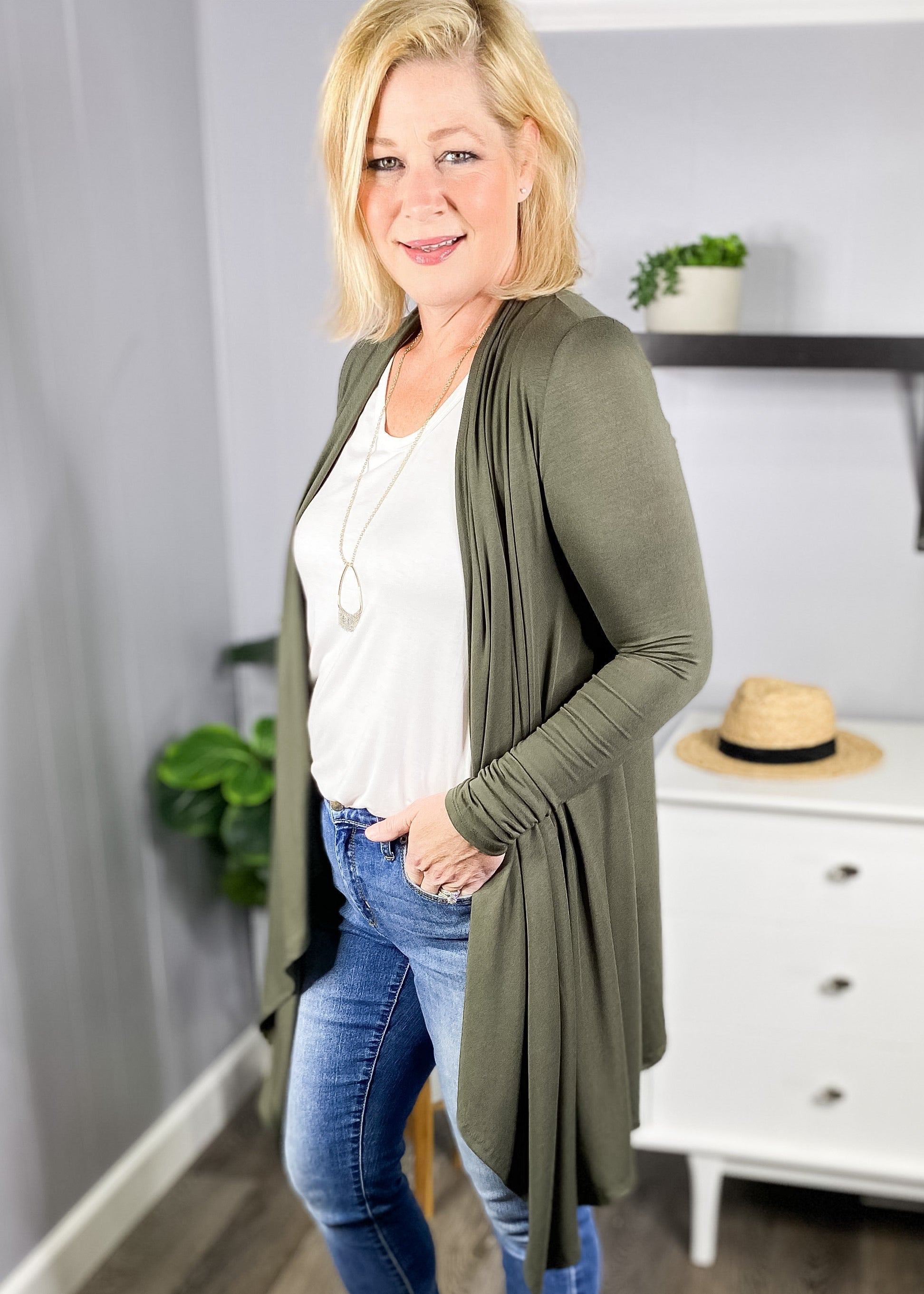 Cascading open feont cardigan in olive at L.E & CO Boutique an online clothing store for women.
