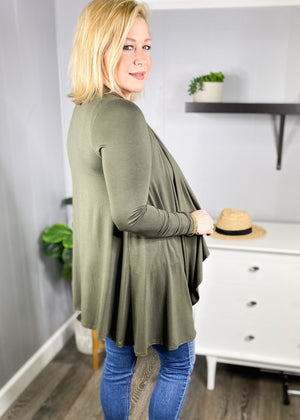 Cascade Cardigan available in Olive and Wine