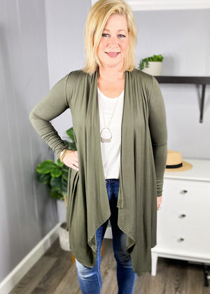 Lightweigh cardigan with cascading front available in olive and wine at L.E & CO Boutique.
